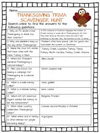 thanksgiving trivia scavenger hunt worksheet november tpt