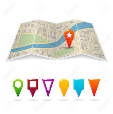 Navigation Map Travel City Road Street Map With Navigation Pin Symbols Vector