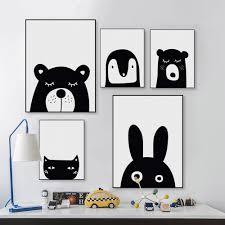 rabbit poster black white kawaii animal cat rabbit poster nordic baby kids