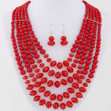 large red beads necklace images Bohemian fashion multiple layers acrylic beads necklace and jpg
