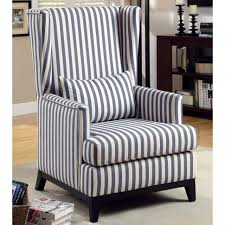 Blue And White Accent Chair Blue And White Striped Accent Chair With High Back Double Arms