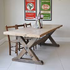reclaimed trestle dining table reclaimed wood trestle dining table