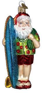 world ornaments surfer santa 40060
