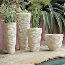 textured stone planters white west elm