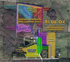 Wisconsin Campgrounds Map by Blue Ox Music Festival Parking And Camping Information