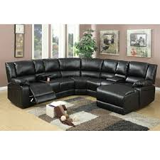 Motion Leather Sofa Black Bonded Leather Motion Sectional Chaise
