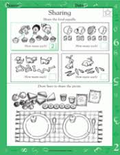 sharing food equally math practice worksheet grade 1
