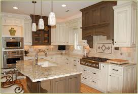 black cabinets countertops large concrete tile floor modern