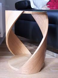 curved wood side table bespoke side table