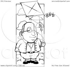cartoon clipart of a black and white benjamin franklin doing a