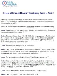 financial english vocabulary class worksheets lesson plans blair