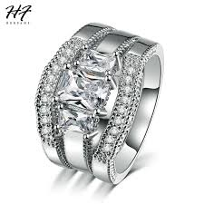 cubic zirconia white gold engagement rings aliexpress buy herfans new fashion square cut cubic zirconia