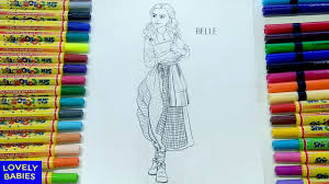 beauty and the beast belle coloring pages for kids learn colors
