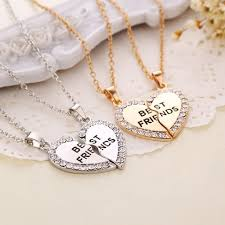 aliexpress heart necklace images Fashion 2p best friend crystal heart necklace pendants chains jpg