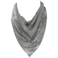 bib necklace metal images Vintage whiting and davis 1970s silver chainmail 70s metal disco jpeg