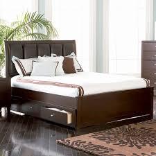 Upholstered Headboard Bed Frame Espresso Wood Storage Bed Frame With Curved Back Upholstered
