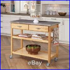 Steel Top Kitchen Cart Utility Table With Locking Wheels - Kitchen utility table