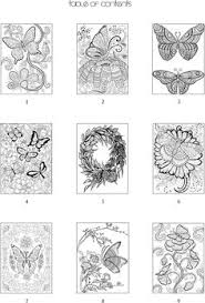 table of contents for coloring book butterfly designs and