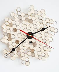 honeycomb clock wall clock modern clock laser cut wood clock home