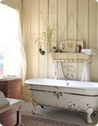 large shabby chic bathroom with retro decor using bath curtains