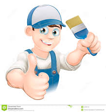 cartoon painter decorator stock vector image of blue 31359419