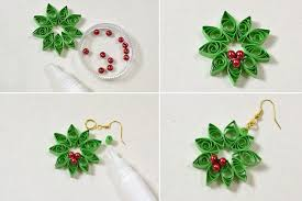 handmade paper earrings crafting wire diy quilling paper flower earrings