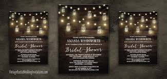 rustic bridal shower invitations jar bridal shower invitations vintage rustic wedding
