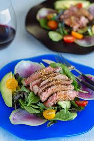 steak salad with shoyu dressing ステーキサラダと醤油ドレッシング