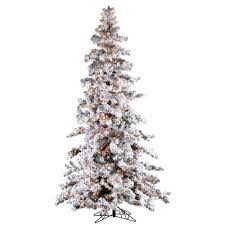 9 ft pre lit heavy flocked white spruce artificial tree