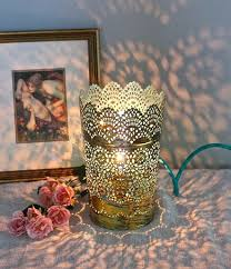 Shabby Chic Bedroom Lamps by Gold Hand Gilded Table Lamp Blue Shabby Chic Boho Lighting Cottage
