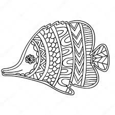 card with fish coloring book page for adults and child u2014 stock