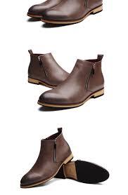 brand 2017 pointed chelsea boots men zipper men boots genuine