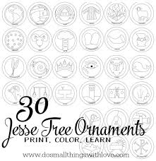 Jesse Tree Ornaments To Print And Color Do Small Things With Love Tree Coloring Pages Ornaments