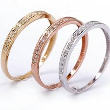 jewelry rings ladies images Classic solid 18k gold real diamond wedding band 750 white gold jpg
