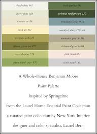 a 16 color spring inspired whole house paint palette