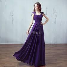 robe violette mariage violette longue pas cher en mousseline corsage en coeur plissé