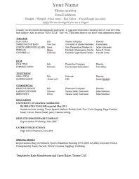 Sample Acting Resumes by Actors Resume Template Billybullock Us