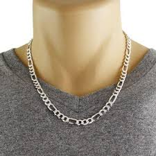 figaro chain silver necklace images Sterling silver figaro chain necklace with pave finish in 6 5mm jpg