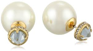 back earrings minkoff simulated pearl front back stud