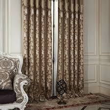 Brown Blackout Curtains Iyuegou Neoclassical Stripe Lotus Jacquard Grommet Top Lining