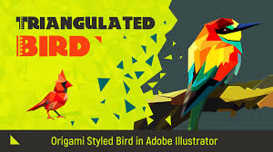 Origami Illustrator - triangulated bird origami styled bird in adobe illustrator