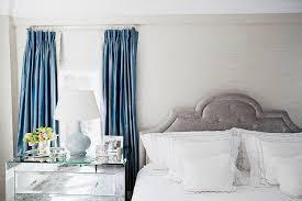 Blue Curtains Bedroom Platinum Gray Velvet Headboard Transitional Bedroom