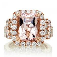 pink morganite peachy pink cushion morganite 11x9 diamond halo three