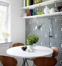 dining room small dining space with geometric wallpaper