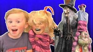 halloween witch puts kid in brew halloween express animatronics
