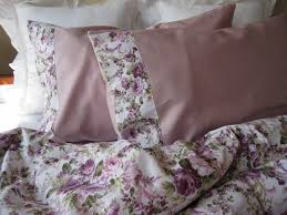 pink green purple lavender lilac roses floral print full or queen