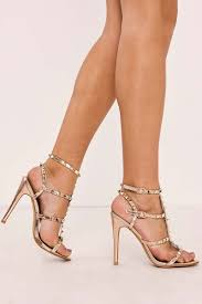 zadia black studded strappy heels in the style