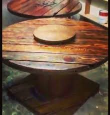 rustic wooden cable reel table with lazy susan ebay