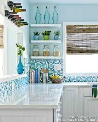 Coastal Kitchens With Ocean Blue Backsplash Tiles Httpwww - Teal glass tile backsplash