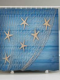 Nautical Shower Curtains 2018 Starfish Fishing Net Wood Grain Nautical Shower Curtain Light